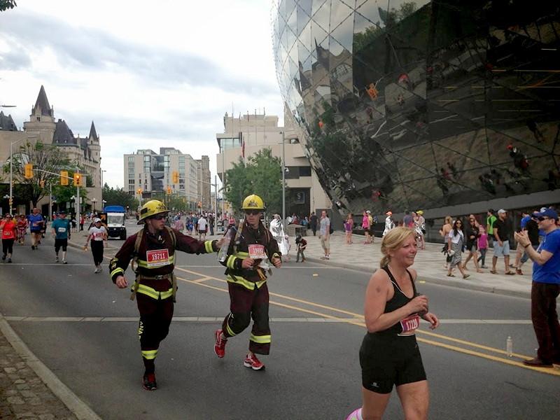Firemen running marathon