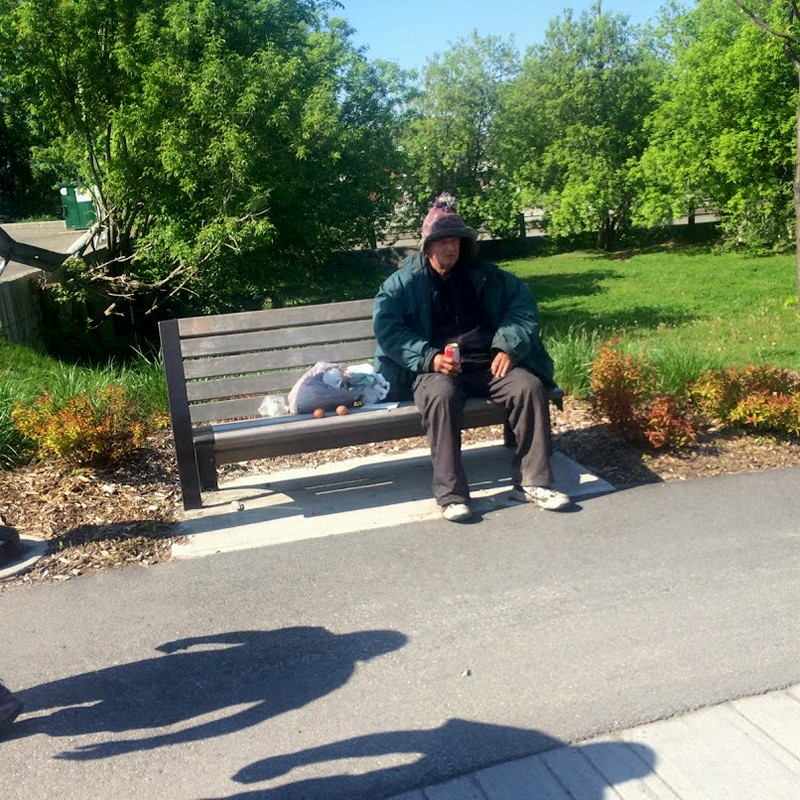 Hobo on bench