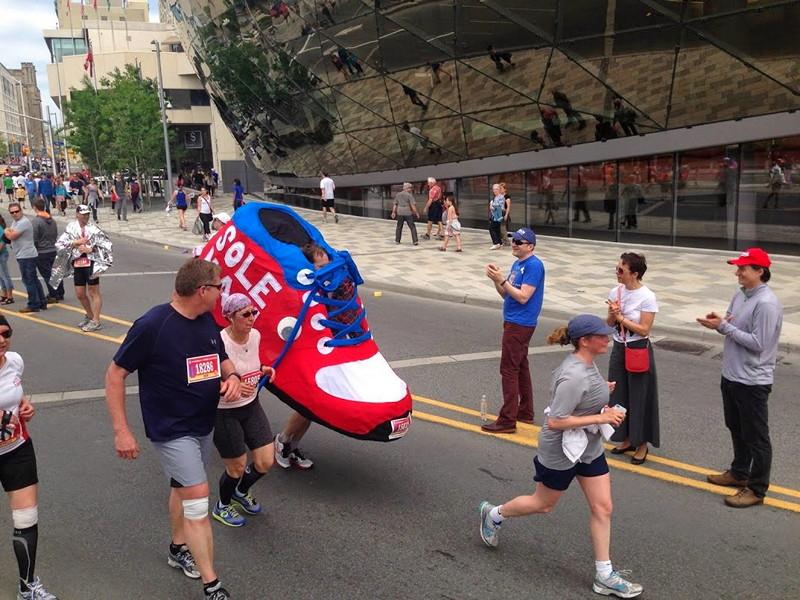 Giant marathon shoe