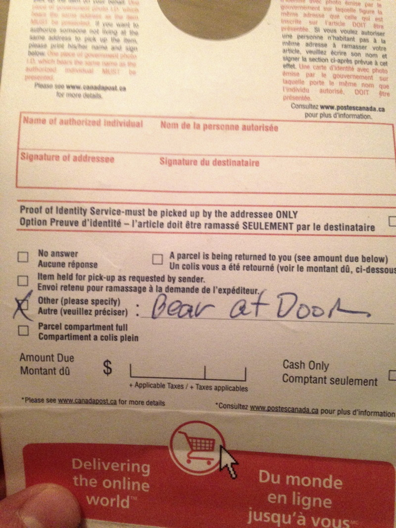 Canadapost notice bear at door
